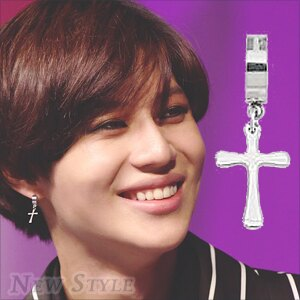 ☆ New Style ☆ 韓國進口 SHINee 泰民 TaeMin 同款圓環十字穿刺耳環 (單支價)