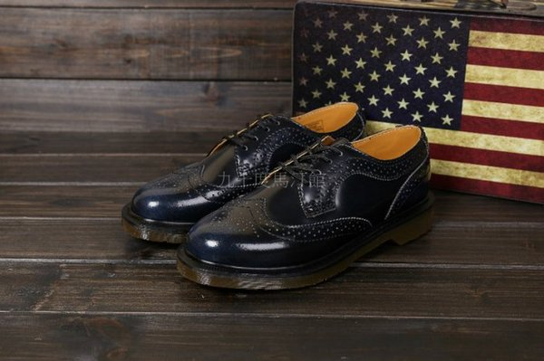 【九十度馬丁管】【兩日到貨】【免運】【4孔擦色藍】【牛津鞋】Dr. Martens馬丁馬汀靴子