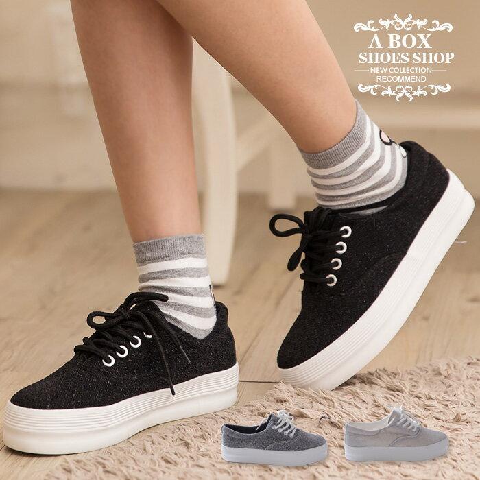 格子舖*【KRW-658】韓國街頭學院風 低調奢華閃耀金蔥 繫帶3.5CM厚底增高鬆糕鞋 3色 0
