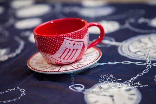 紅色系羅馬數字咖啡杯盤組~小樹苗生活雜貨~日本鄉村風拍照背景