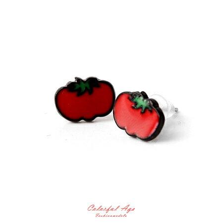 耳環 可愛水果系列番茄耳針耳環 涼夏海天度假 甜美女孩專屬 柒彩年代【ND279】俏皮風格 - 限時優惠好康折扣