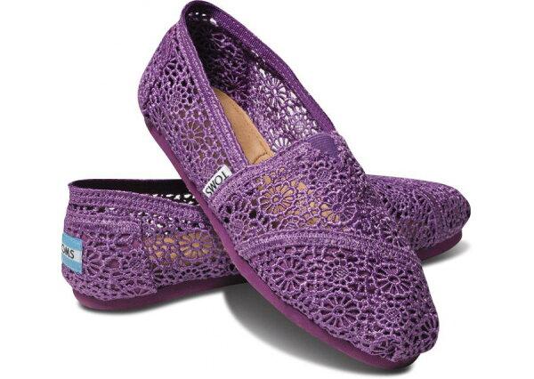[女款] 國外代購TOMS 帆布鞋/懶人鞋/休閒鞋/至尊鞋 蕾絲系列  紫