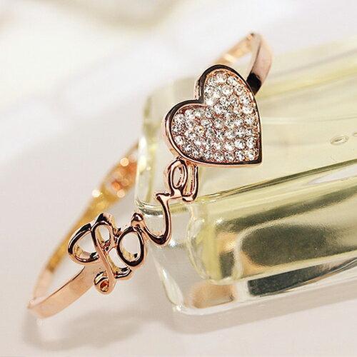 手環 - 氣質LOVE字母鑽石愛心手鐲【21557】 藍色巴黎《2色》現貨+預購 1