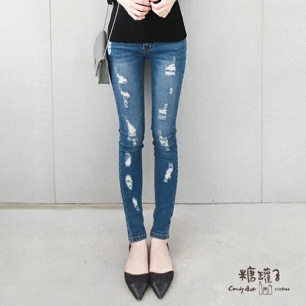 ★原價750五折375★糖罐子破損口袋單寧褲→深藍 預購【KK4870】 1