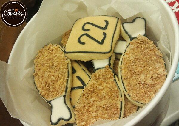 【裸餅乾Naked Cookies】炸雞主題-特殊客製6入-創意手工糖霜餅乾,婚禮/生日/活動/收涎/彌月