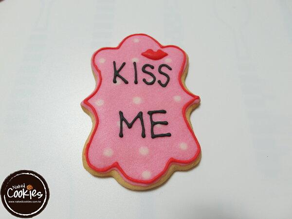 【裸餅乾Naked Cookies】KISS ME情人節6入-創意手工糖霜餅乾,婚禮/生日/活動/收涎/彌月