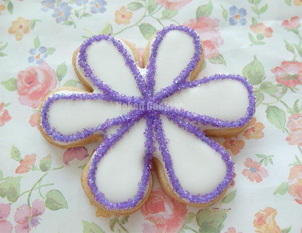 【裸餅乾Naked Cookies】水晶花朵(紫)-特殊客製6入-創意手工糖霜餅乾,婚禮/生日/活動/收涎/彌月
