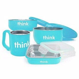 美國【Thinkbaby】304不鏽鋼餐具組(晴空藍) 0