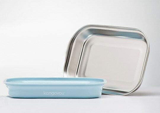 美國【Kangovou】小袋鼠不鏽鋼安全平板餐盤-野莓藍 - 限時優惠好康折扣