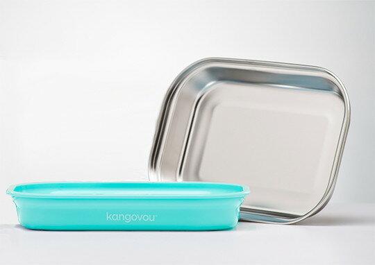 美國【Kangovou】小袋鼠不鏽鋼安全平板餐盤-薄荷綠 - 限時優惠好康折扣
