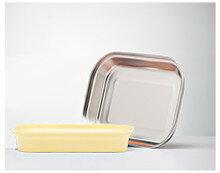 美國【Kangovou】小袋鼠不鏽鋼安全平板餐盤-檸檬黃 - 限時優惠好康折扣