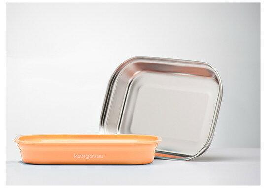 美國【Kangovou】小袋鼠不鏽鋼安全平板餐盤-奶油橘 0