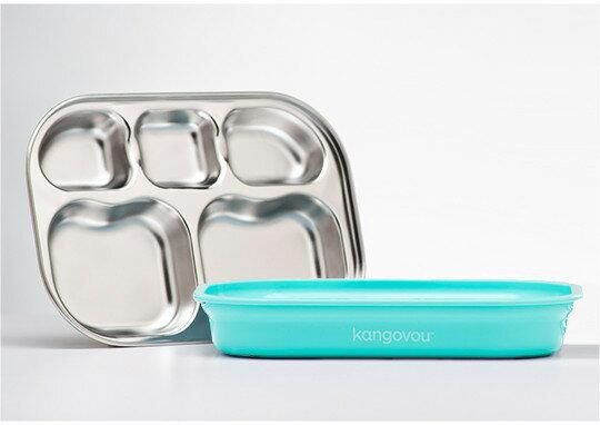 美國【Kangovou】小袋鼠不鏽鋼安全分隔餐盤-薄荷綠 0