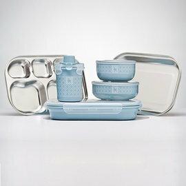【本月贈市價$160-杯上蓋】美國【Kangovou】小袋鼠不鏽鋼安全餐具組-野莓藍 (贈精美禮盒+紙袋) 1