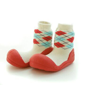 【本月特價$599】韓國【Attipas】快樂腳襪型學步鞋-菱格紋系列(紅) - 限時優惠好康折扣