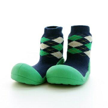【本月特價$599】韓國【Attipas】快樂腳襪型學步鞋-菱格紋系列(綠) - 限時優惠好康折扣