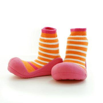 【本月特價$599】韓國【Attipas】快樂腳襪型學步鞋-圈圈系列(桃粉) - 限時優惠好康折扣