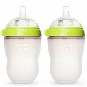 【贈Banana Brush 鯊魚牙刷x1】Comotomo 矽膠奶瓶  250ML-2入裝 (綠/粉) 2