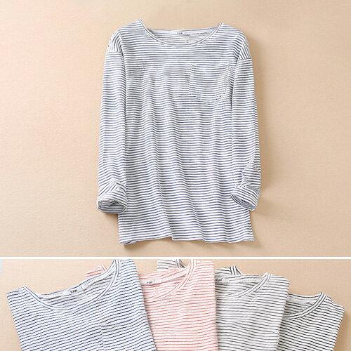 T恤 細條紋棉裝飾口袋圓領長袖T恤【MZTX16112】 BOBI  10/27 0