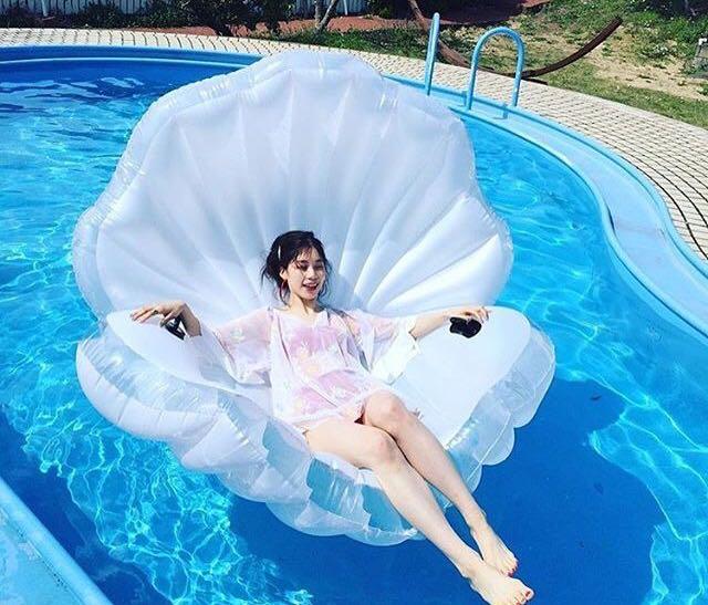 秒發^!^!^!夏天最酷的玩水利器^!^!^!充氣PVC貝殼珍珠泳圈充氣浮板^!^!^!水