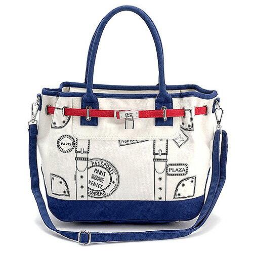 D&M 旅行巴黎 鑰匙鎖頭包/帆布托特包/手提包/斜背包(女人我最大推薦款)【B05002】