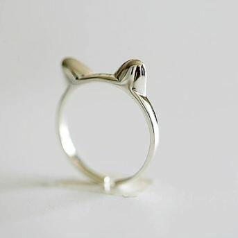 Tokyo Alice 925純銀立體貓耳開口戒,戒指飾品首飾銀飾甜美(sr0000038)