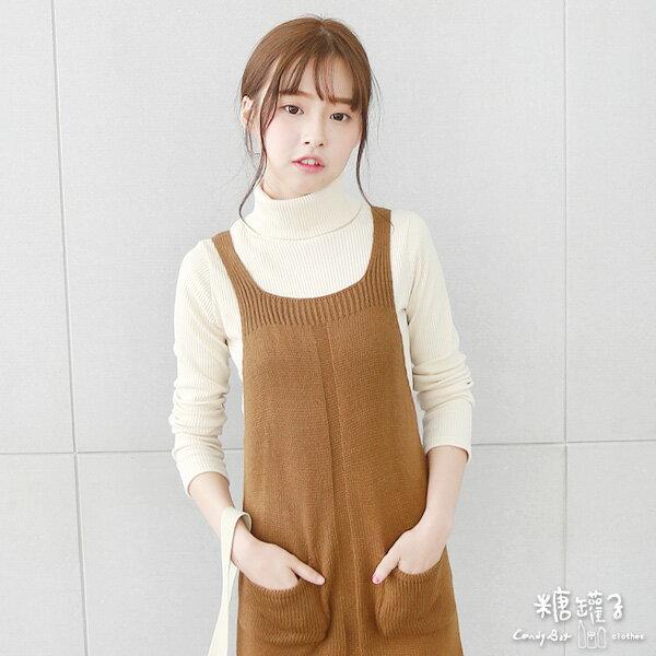 ★原價690五折345★糖罐子口袋針織背心洋裝→預購【E40742】 2