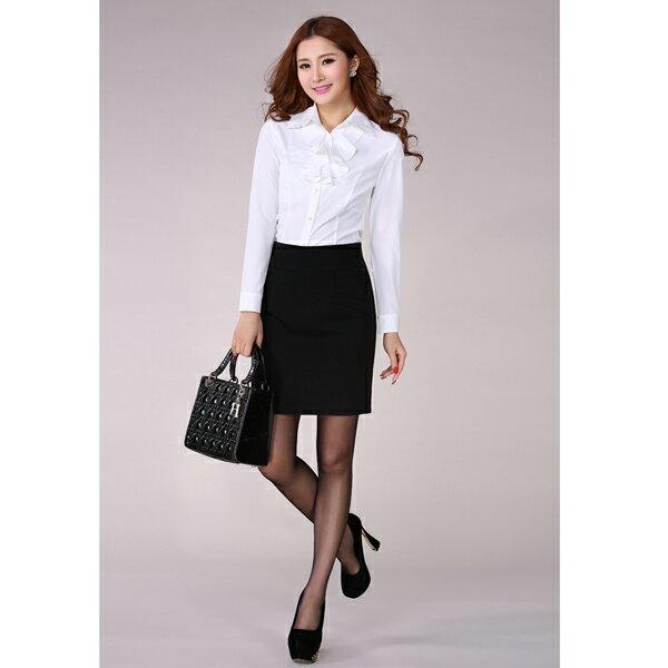 *艾美天后*OL襯衫韓版時尚中大尺碼長袖白襯衫女 商務職業女裝