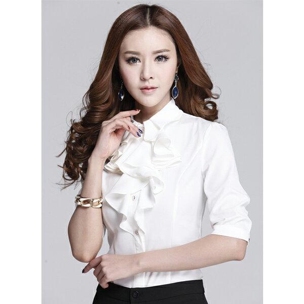 OL辦公室女襯衫 商務服務員職業荷葉邊緞面雪紡白襯衫女