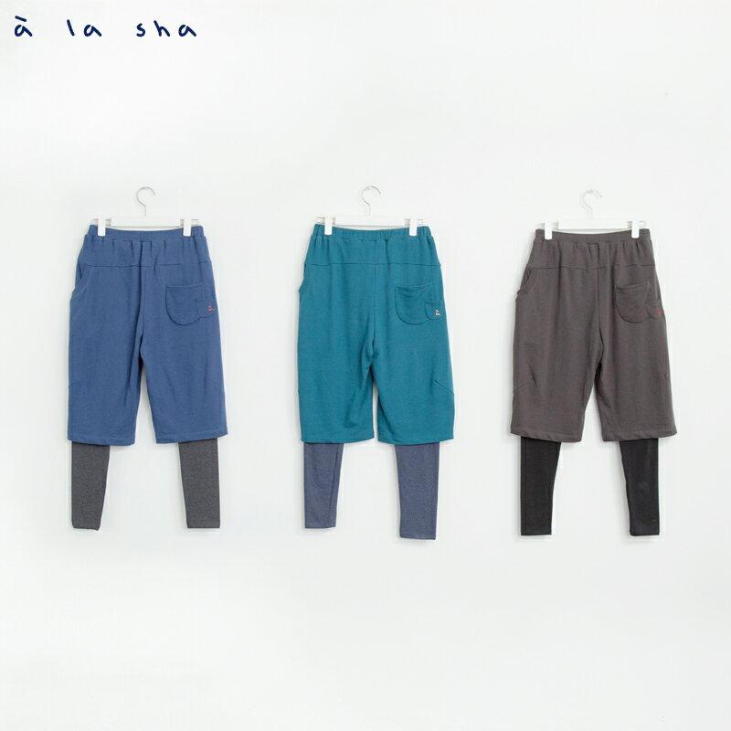 a la sha Qummi 假兩件式動物口袋剪接褲 4