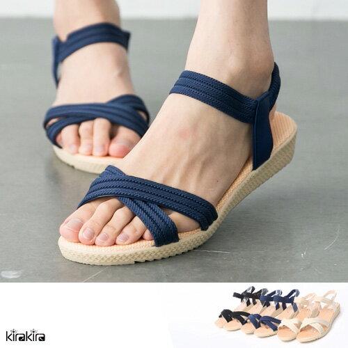 5涼鞋-羅馬交叉編織厚鬆緊涼鞋