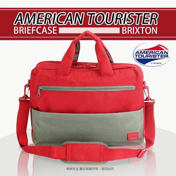 《熊熊先生》Samsonite 新秀麗 American Tourister 混色輕時尚 筆電公事包 手提包 多功能  單肩包、側背包 附背帶