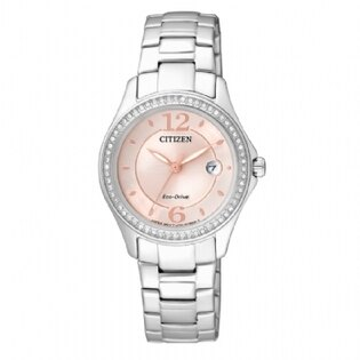 CITIZEN星辰FE1140-51X小吋晶鑽光動能女錶/粉色面