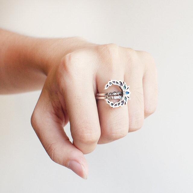 【現貨商品】【KONRON】新月許願寶石純銀戒指 (KRBCR1027) 4