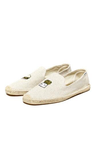 【Soludos】美國經典草編鞋-塗鴉系列草編鞋-漢堡薯條/米色 0