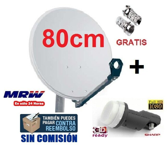ANTENA PARABOLICA 80cm + LNB SHARP UNIVERSAL + CONECTORES F 0