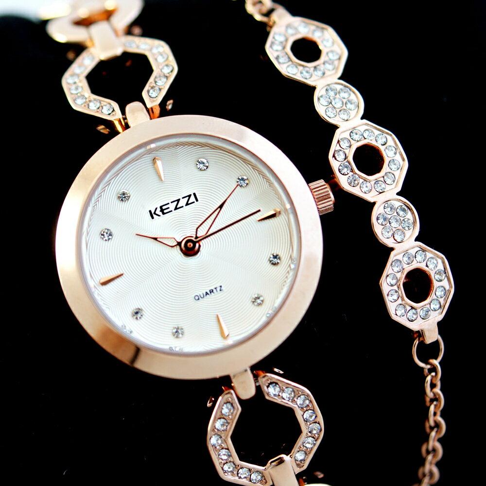 KEZZI 珂紫 KW-1523 韓風簡約名媛款鑲鑽鏤空手鍊式腕錶 1