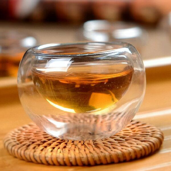 【自在坊】雙層玻璃杯 圓形款 (50ml)  茶具 茶杯賞茶杯 隔熱品茗茶杯 ( 整組購買加贈竹杯墊)