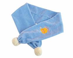 黃色小鴨 剪毛絨繡花保暖圍巾 兩色