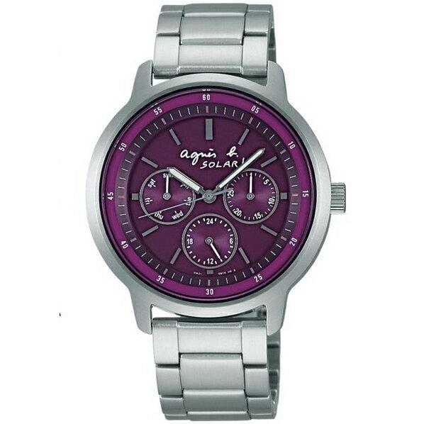 agnes b.鮮豔紫太陽能腕錶BT5002P1(V14J-0BF0T)/紫面38mm