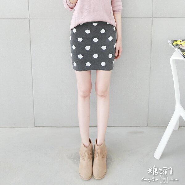 ★原價470五折235★糖罐子點點縮腰針織短裙→預購【SS1368】 1