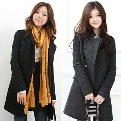 PS Mall 韓版立領修身雙排扣毛呢外套風衣長袖外套 【T1774】
