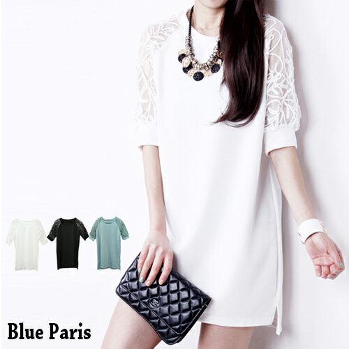 洋裝 - 蕾絲露肩五分袖長版上衣 【27009】藍色巴黎 《2色》現貨+預購 0