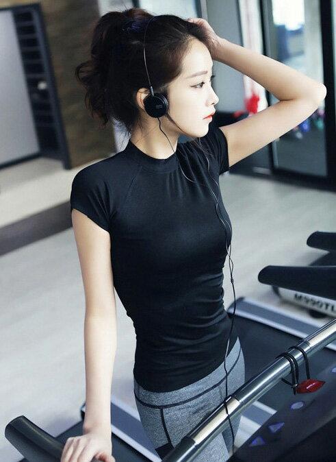 韓版運動套裝 艾爾莎 彈力休閒短袖緊身上衣+激瘦流線跑步健身瑜珈褲【TAE2205】 2