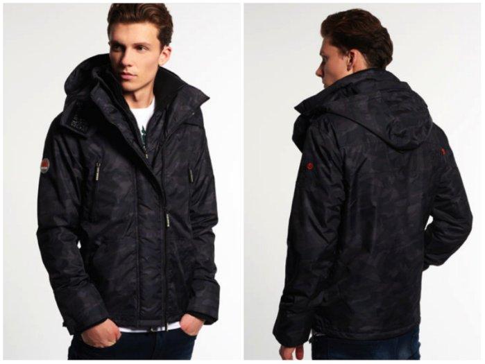 [男款]英國名品代購 極度乾燥 Superdry Arctic Wind Attacke男士防水防風戶外休閒外套夾克風衣 迷彩黑 1