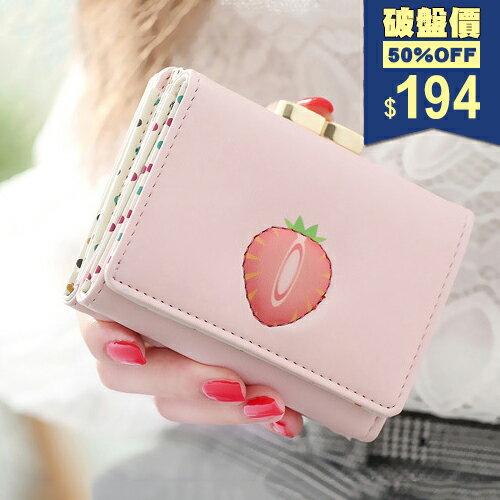 短夾-水果印花三折多功能皮夾 包飾衣院 A1091 現貨+預購