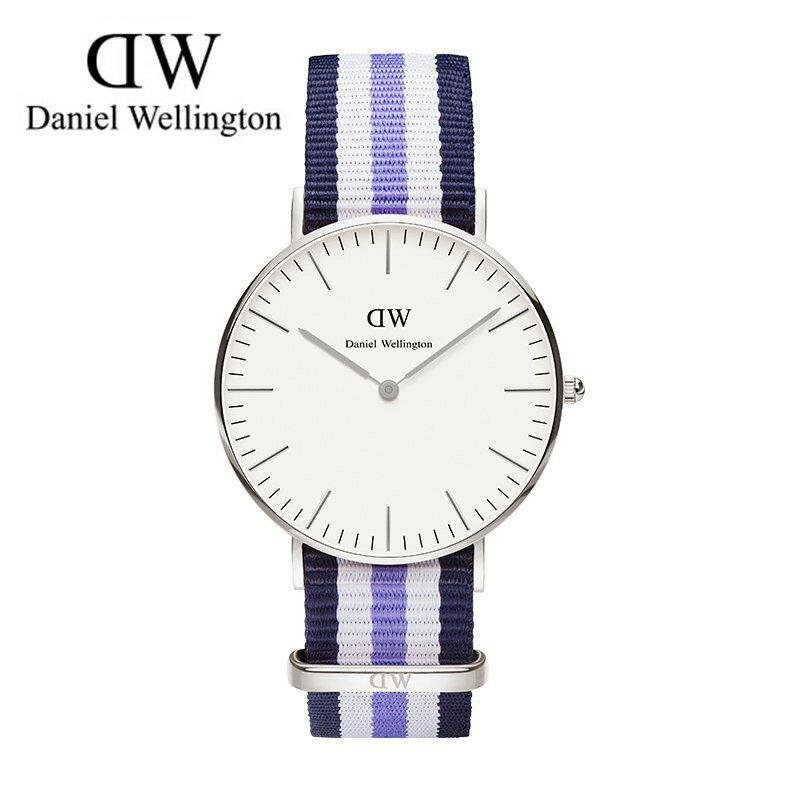瑞典正品代購 Daniel Wellington 0609DW 銀 玫瑰金 尼龍 帆布錶帶 女錶手錶腕錶 36MM 0