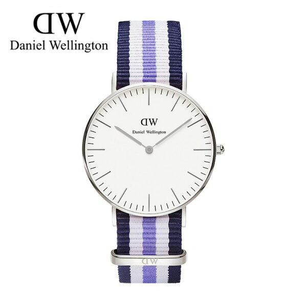 瑞典正品代購 Daniel Wellington 0609DW 銀 玫瑰金 尼龍 帆布錶帶 女錶手錶腕錶 36MM