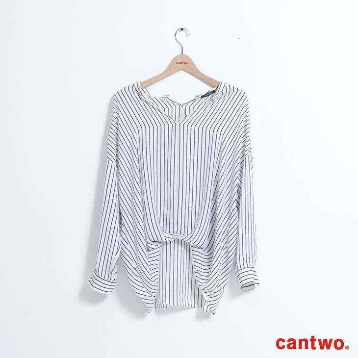 cantwo條紋小立領弧襬襯衫(共二色) 7