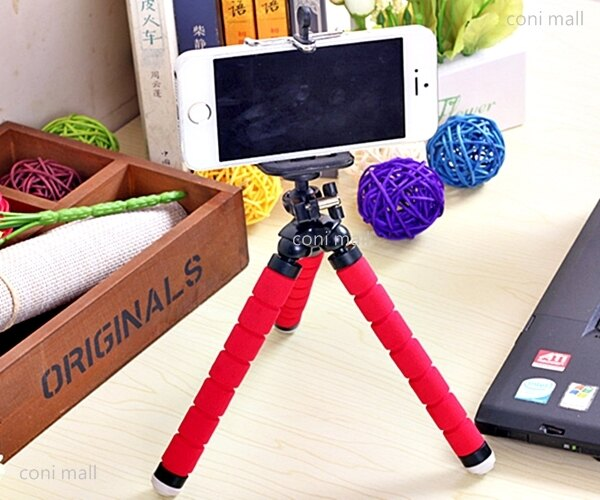 【coni shop】泡棉章魚腳架 迷你腳架 手機腳架 三腳架 自拍 相機 雲臺 360度旋轉 送手機夾